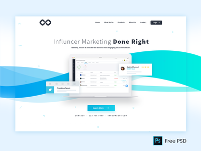 Influence Marketing Mockup influencer marketing laptop saas website landing page design product application automation workflow social media influence marketing