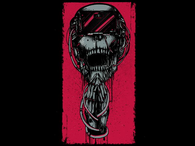 Virtual Dope neon skull skeleton illustration drawing design artwork art