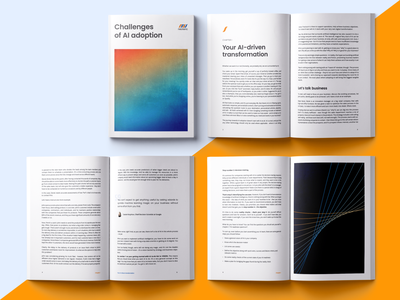 Neoteric - Challenges of AI Adoption folder print mockup magazine