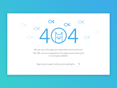 DailyUI - Day 008 404 Page site error 404 fishes cat ui 008