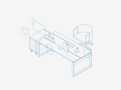 Workplace blueprint workplace table chair desk illustration