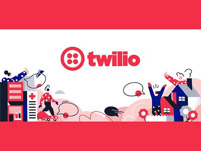 Twilio Homepage Illustration twilio texture design vector color colors character illustration
