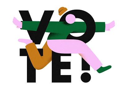 VOTE VOTE VOTE texture character branding design branding inspiration illustration election vote