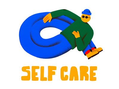 Self Care editorial texture design branding colors character illustration