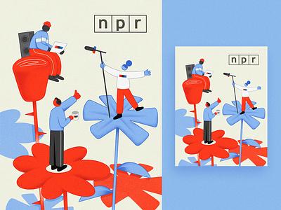 NPR Holiday Card inspiration editorial texture design branding npr character illustration
