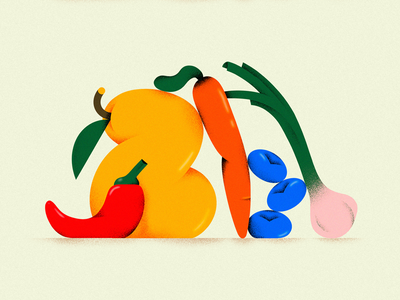 Fruits and Veggies branding texture colors illustration