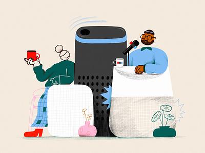 NPR on your Smart Speakers inspiration texture design color branding colors character illustration