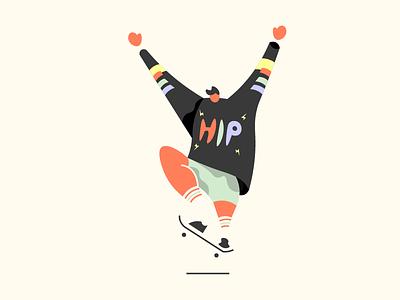 Hip Skater h3h3 skateboarder illustration color skateboarding