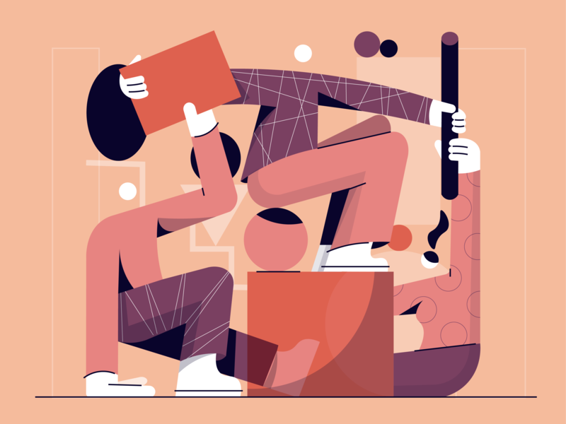 Collaboration colors vector character cover illustration editorial