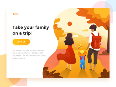 Take your family to travel illustrate ui