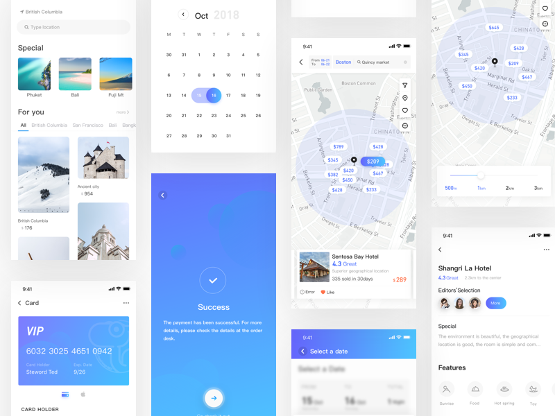Hotel detail page map hotel detail purple ios ux blue brand interface design app ui