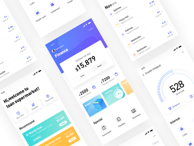 Finance(blue-purple) financial purple blue ios interface design app ui