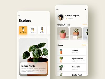 Explore Plant blue yellow ux interface design app ui