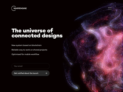 WARPENGINE Coming Soon web design clean typography interaction after effects 3d animation ui web