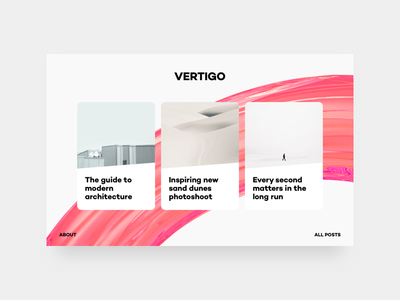 Top Stories layout render 3d typography cards web ui