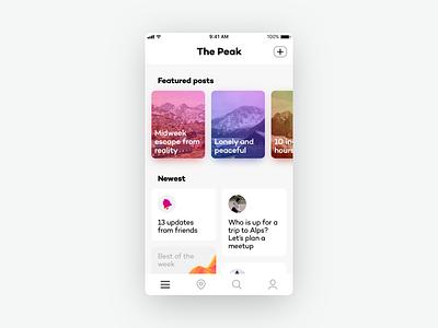 The Peak Feed Screen gradients clean ui cards ios 11 feed
