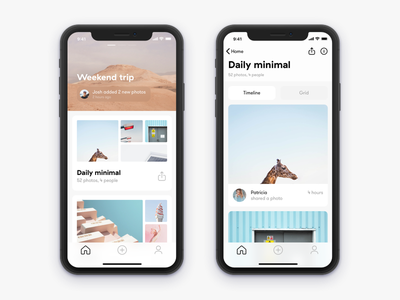 Home and Gallery iPhone X screens iphone x photos ios ux ui