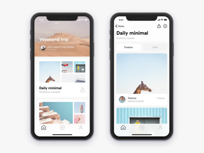 Home and Gallery iPhone X screens