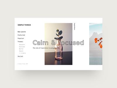 Calm - Layout Exploration menu images web layout typography