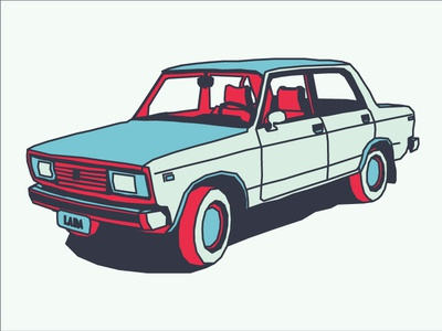 Good ol' Lada vintage car lada soviet ussr auto russian line illustration
