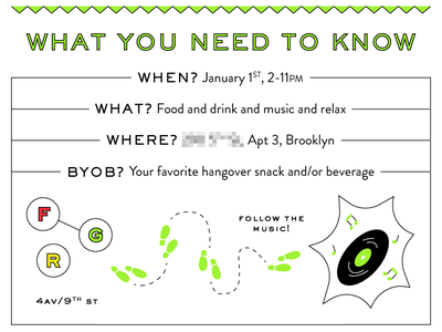 New Year's Day Invite, Part 3 map email party invite invitation beer food music new years nye line illustration