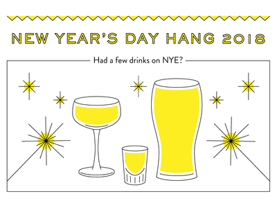New Year's Day Invite, Part 1 drinks party nye new years music line invite invitation illustration food email beer