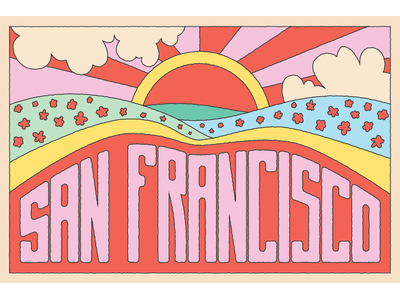 San Francisco Postcard hippie psychedelic 70s 60s ai travel facebook san francisco rainbow floral illustration