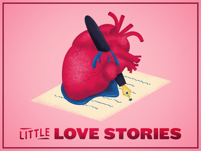 Little Love Stories romance writing event branding logo stories story ai texture illustration anatomical heart valentine love