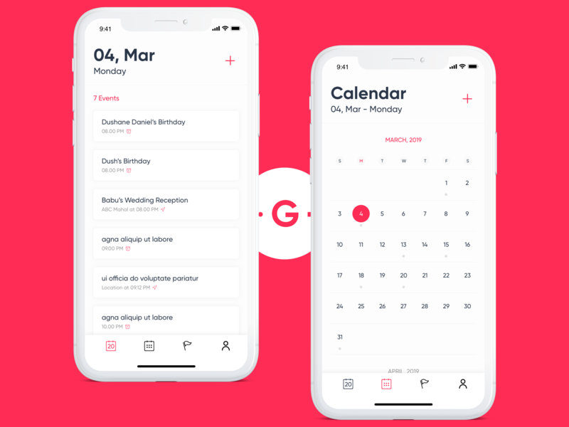 Calendar calendar app branding mobile app ux iphone x goch ux design ui design