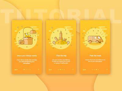 Tutorial concept city taxi yellow truck illustration tutorial app concept design ui ux