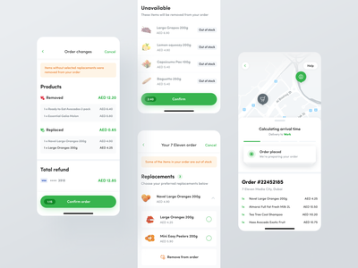 Careem App - Groceries #2 replacement confirmationscreen payment refund tracking outofstock grocerydelivery delivery order careem uiux netgurudesign mobiledesign checkout groceries uber mobileui mobile app ui