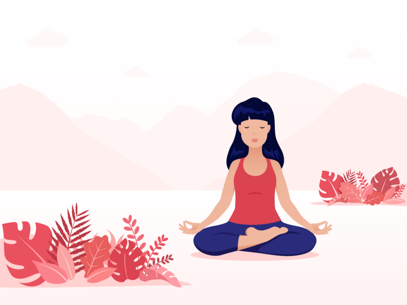 Meditation illustration red and blue red landscape meditation peace of mind woman calm mountains vector art character