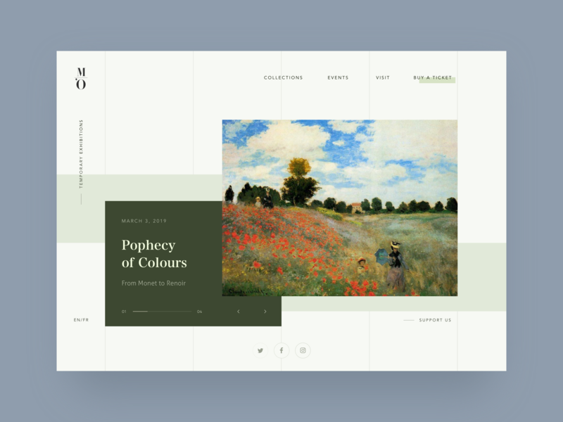 Musée d'Orsay Website Redesign paris website desktop landingpage exhibition green concept redesign orsay impressionism paiting museum of art museum musee monet art clean ui
