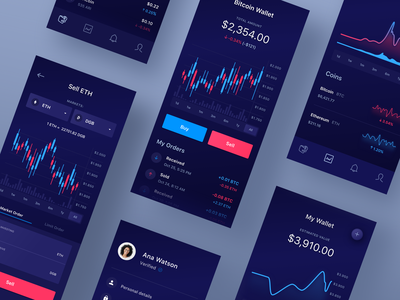 CryptoApp for IOS Vol.2 crypto wallet ui cryptocurrency app design candlestick chart diagram ethereum bitcoin fintech ux mobile ui mobile crypto exchange crypto crypto currency app