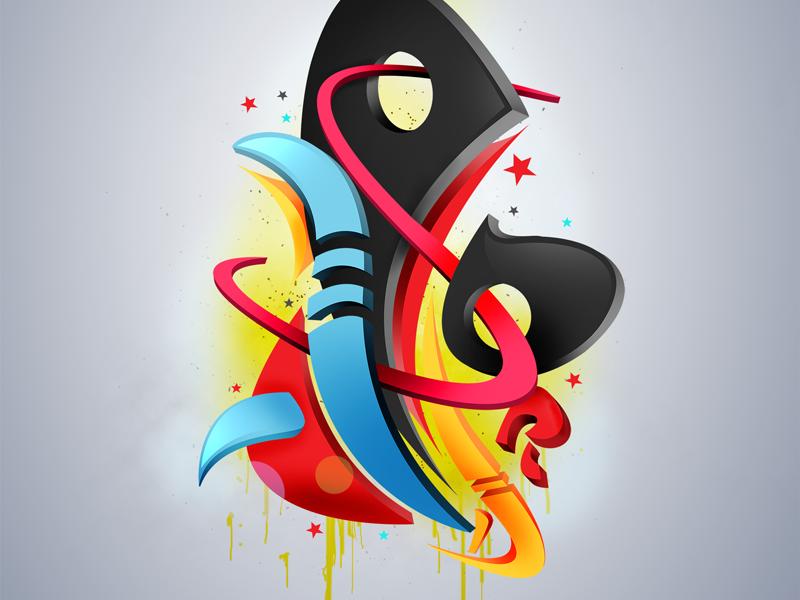 Dribbble Debut shapes photoshop graffiti digital art art abstact