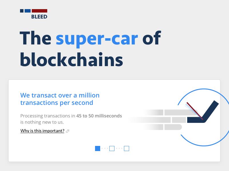 Landing Page for Blockchain Platform bleed cta pagination flat microcopy heading blockchain