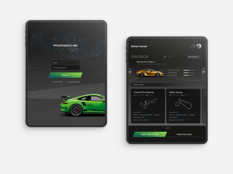Porsche Track Coach iPad App ipad sports car infotainment course racetrack race car tablet product design ui concept time attack racing porsche