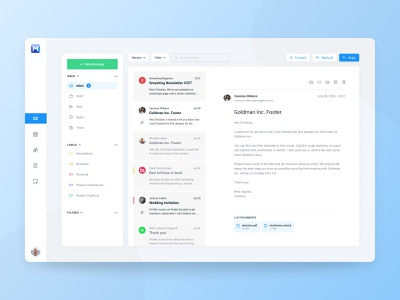Mail Client light desktop figma outlook interface dashboard inbox email messages mail clean app ux ui simple jakob treml