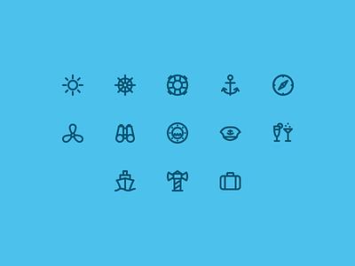 Cruise Icons icons icon iconography lines simple cruise sea holiday set stroke jakob treml