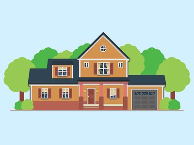 House city house houses simple minimal flat illustration detail tree jakob treml