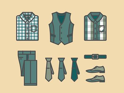 Business jakob treml illustration vector simple flat lines clothing shirt tie shoes belt vest