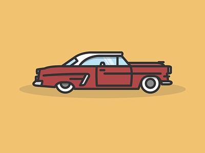 Ford Crestline Victoria 1953 jakob treml illustration car ford oldtimer vector simple lines flat