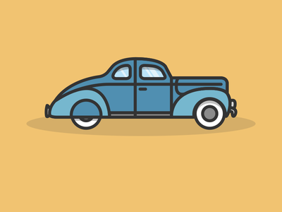 Ford Coupe DeLuxe 1940 illustration car ford oldtimer vector simple lines jakob treml flat