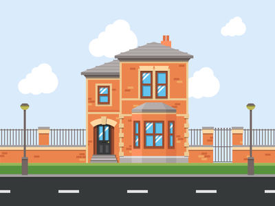 Another House jakob treml vector clouds detail illustration flat minimal simple street city house