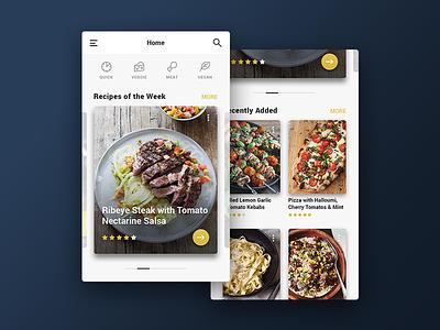 Recipe App - Home Screen card food recipe ux ui ios android app