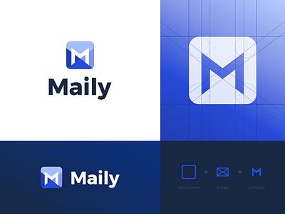 Maily - Logo Design identity illustrator negative space abstract symbol visual identity letter m mail logo grid logodesign vector icon branding logo simple jakob treml