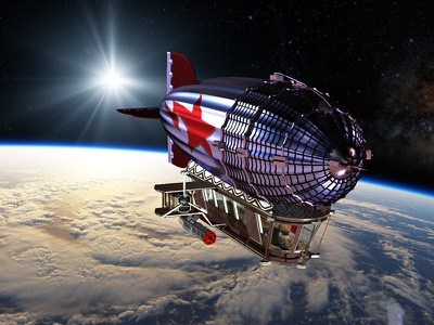 Visiting Space exploring spaceship zeplin zeppelin universe galaxy design photoshop concept art 3d space bear