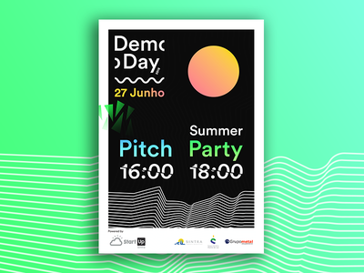 Demo Day 2018 cool dark pitch good vibes sun summer startup event demo day flyer poster