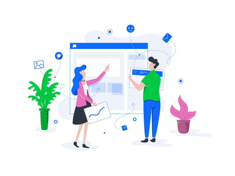 Building the interface people character plant graph illustration interface business team vector