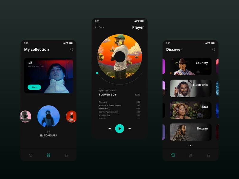 Music app | UI design dark app dark ui dark mode start-up startup music player music app music mobile app design mobile ui mobile app design app ui design ux ui design